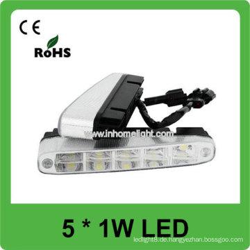 Hochwertiges Aluminium 5PCS 1W Hochleistungsauto LED DRL Licht
