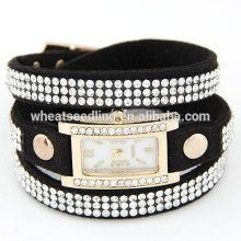Excellent Womens Leather Band lady clock wrist watch