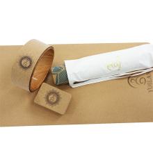 Yugland Custom print label eco friendly gym fitness natural rubber cork yoga mat wheel strap block yoga mat set
