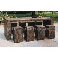 PE exterior sistemas de muebles de mimbre moderna barra de la rota