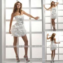 Reizvolles kurzes trägerloses wulstiges Brosche-Falte-Korsett-Hochzeits-Kleid-kurzes Partei-Kleid