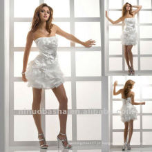 Sexy curto Strapless Beaded Brooch Fold Corset Vestido de casamento Short Party Gown