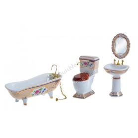 Dollhouse miniature bathroom accessories kit ceramics