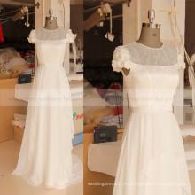 Cuello de manga cuello de gasa flores hechas a mano barato vestido de boda de bohemia