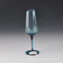Boca soprado cor sólida azul taça de champanhe