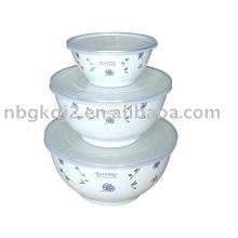 Bol de sopa de almacenamiento de esmalte de porcelana de 3 piezas