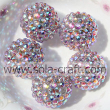 Pink Multicolor Resin Rhinestone Beads 18*20MM Solid Beads For Jewelry Making