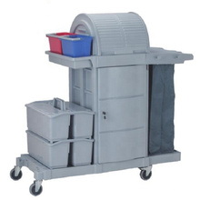 commercial hotel housekeeping utility plastic 2 shelf flat mopping service cleaning cart storage cabinet janitor cart