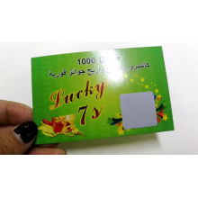 Eco-friendly customized embossed scratch off prepaid lucky game win card/label/ticket printing for promotion