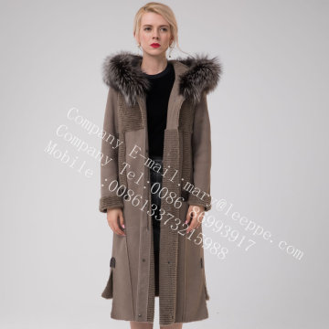 Winter Long Hooded Australia Merino Shearling Coat Grey