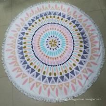 Custom print microfiber round beach towel with tassel fringe
