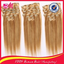 Fashion hot sale new styles grade 6A unprocessed double weft clip in human hair extensions