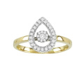 18k Gold Dancing Diamond Ring Jewelry with Micro Setting