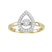 Jóias De Anel De Diamante De Dança De Ouro 18k Com Micro Configuração