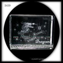 K9 3D subsuperfície de laser dragão dentro do bloco de cristal