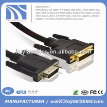 Oro plateado 5 pies VGA a DVI -I 24 + 5 de cuerda de varón a macho con Nylon Net Support 3D 1080P