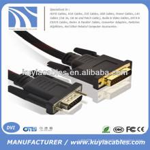 Ouro Plated 5ft VGA para DVI -I 24 + 5 cabo Masculino para Masculino com Nylon Net suporte 3D 1080P