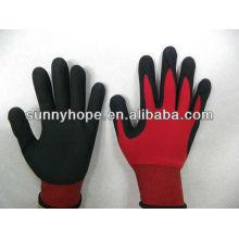 13G roter Polyester-Liner schwarz Nitril beschichtete Handschuhe