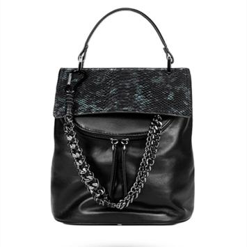 Snakeskin women's chain leather backpack