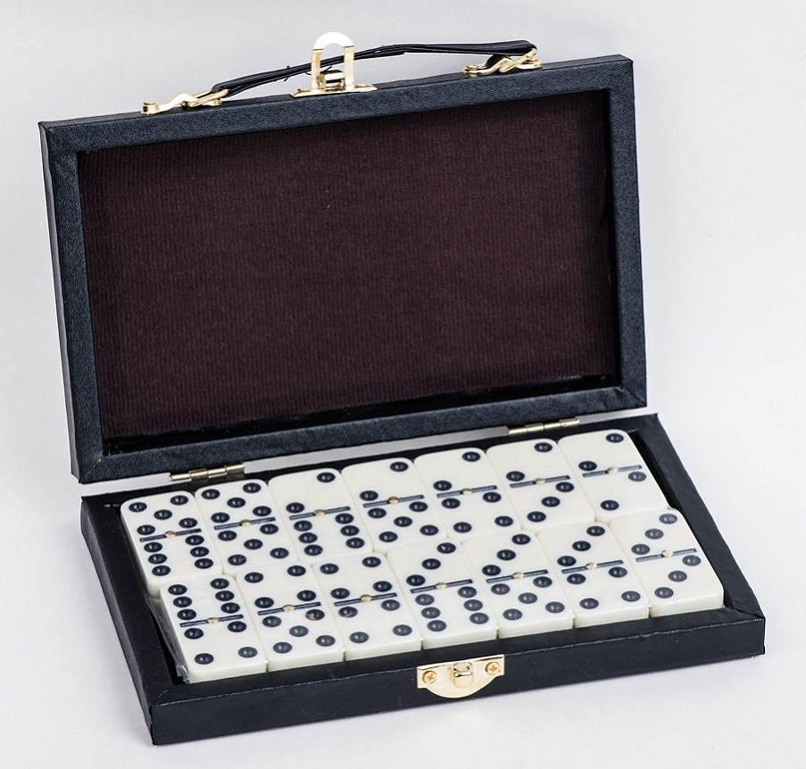 Double 9 Dominoes In Leather Box