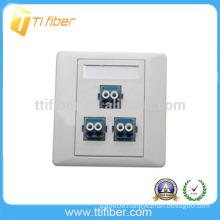 3-Port Duplex LC Fiber Optic Faceplate/ Wall Plate