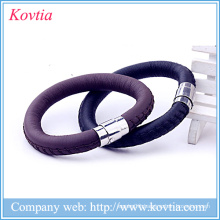 Magnetic leather bracelet stainless steel buckle charm bracelet mens