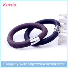 Магнитный кожаный браслет из нержавеющей стали пряжки шарм браслет мужские