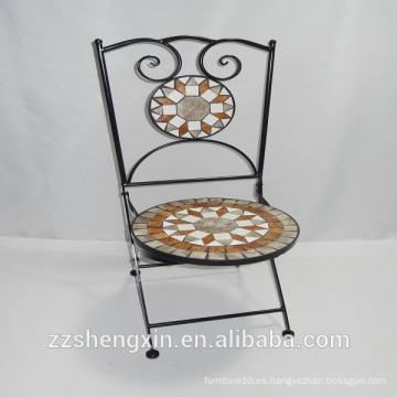 Silla de mosaico de metal / silla de jardín de mosaico