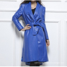 Colorful Long Style Genuine Leather Jacket for Women