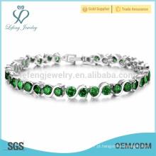 Platina e design de pulseira de diamante para senhoras, pulseiras de cadeia de platina barata