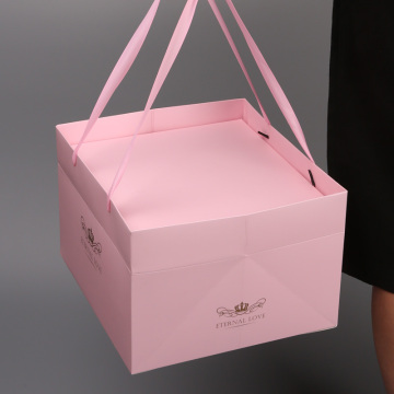 Pink Cake Box Hantera Food Packaging Box Bageri