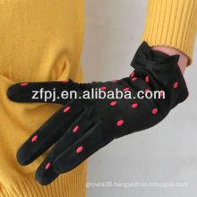 Best sale ladies studs pig suede leather gloves in bulk