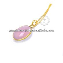 Халцедон ювелирные изделия Шарм ожерелье Серебро 925 позолоченное серебро халцедон розовый позолоченный