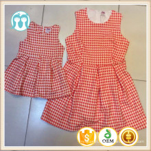 Mom&daughters casual dress,valentine's days familes clothes, light red patterned mommy baby dress clothes