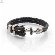Statement leather bracelet braided 2018 anchor charms for bangle bracelet