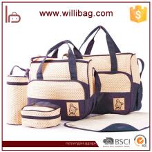 Venda quente de Alta Qualidade 5 pcs Set Baby Diaper Microfibra Bag