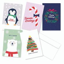 Paquet de 30 cartes de cartes de voeux de Noël assorties - 6 de chaque jeu de cartes de vœux design