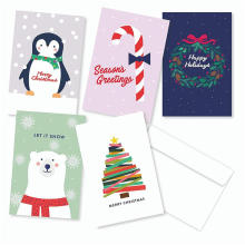 Pacote de 30 cartões de cartões de Natal sortidas - 6 de cada cartão de férias Design