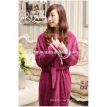 Super Soft Elegant Purple fleece bathrobe for Women Home Hotel Wear