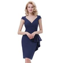 Белль некоторые из них имеют Ретро старинные 1950-х годов Cap рукав V-образным вырезом бедра-завернутые bodycon карандаш платье темно-синий BP000301-1