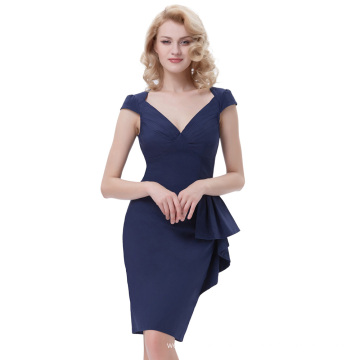 Belle Poque Retro Vintage 1950s Manche à encolure V-Neck Hips-Wrapped Bodycon Pencil Blue Blue Dress BP000301-1