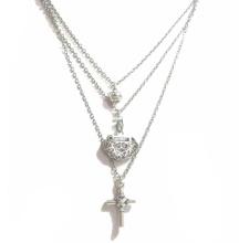 Rhdoum Plated Multi Cross Fashion Jewelry Pendant Necklace