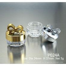 Brillante color bowknot cosméticos frascos 5g vacío cosmético botella lujo cosméticos tarros