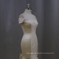 Champane Mermaid Wedding Dress Boat Neckline