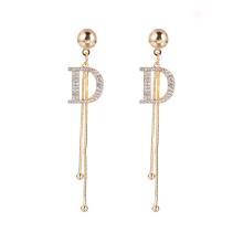 Luxury Long Chain Letter D Hanging Earrings For Women Crystal Big Dangle Earring Wedding Jewelry Statement