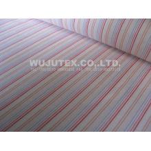 Plain Weave Cotton Nylon Fabric / Spandex Stripe Fabric With Blue / Yellowred / White