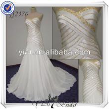 JJ2376 Cachemira sirena gasa blanco y vestidos de boda de oro