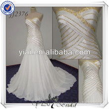 JJ2376 Sweetheart Mermaid Chiffon White And Gold Wedding Dresses