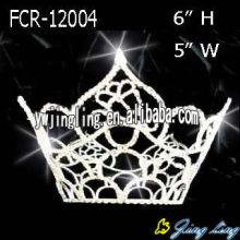 Coronas plateadas del desfile redondo completo Tiara