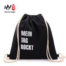 Hochwertiger Rucksack mit Kordelzug aus schwarzem Canvas